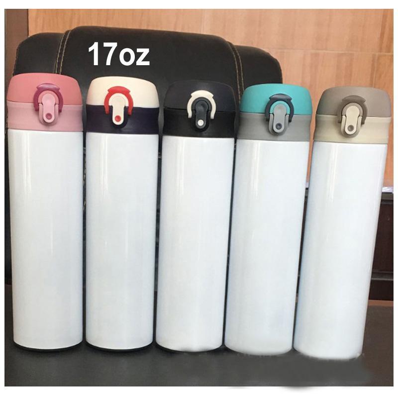 التسامي معزول 17 أوقية زجاجة المياه الأبيض فارغة diy صور طباعة الترمس 17 أوقية الفولاذ المقاوم للصدأ التسامي السفر الترمس البحري