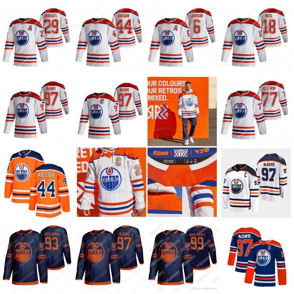 Коннор McDavid Edmonton Oillers 2021 обратный ретро Colby Cave Leon Draisaitl Ryan Nugent-Hopkins Gretzky Medurs Kassian Barrie Jersey