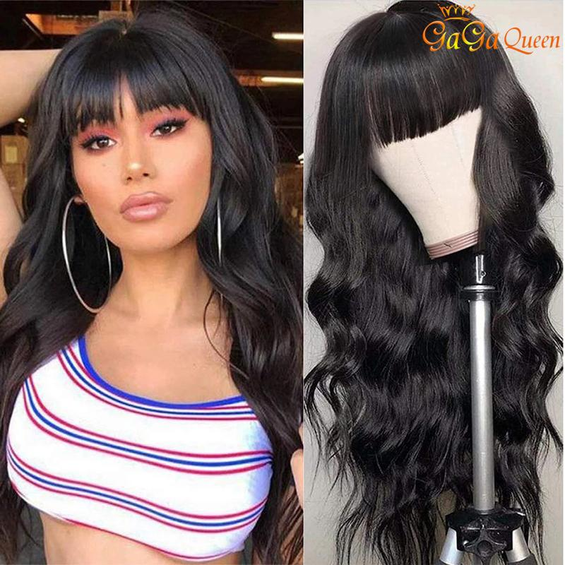 بيرو الجسم موجة شعر الإنسان شعر مستعار 150٪ الكثافة الجسم موجة الشعر الباروكات مع الانفجارات للنساء