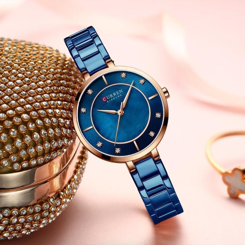 Relógios de pulso relógios mulheres curren moda luxo strass discagem relógio de quartzo impermeável banda de aço inoxidável pulseira de pulso para ladies1