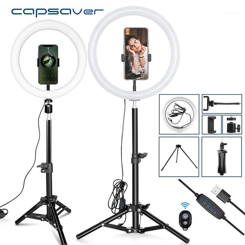 Blitzköpfe Capsaver 10 Zoll 12 LED Ringlicht Dimmable USB-Lampen Make-up-Lampe mit Telefonhalter-Stativ für Tik Tok YouTube Video1