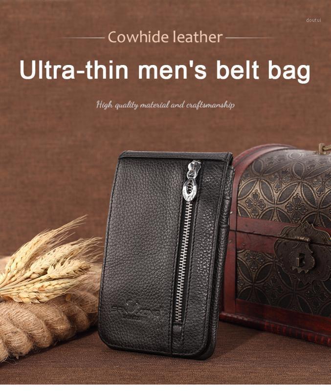 Pi tio alto quindade de couro genuíno bolsa de cintura fina bolsa móvel saco móvel casual couro natural1