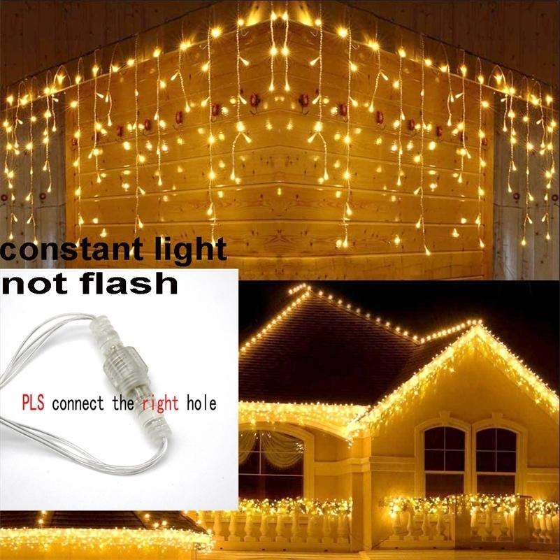 8M-48M GARANDO DE NAVIDAD LED Curtin Curtain Circle String Light 220V Droop 0.4-0.6m Mall Aleros Garden Etapa al aire libre Fairy Lights 201211