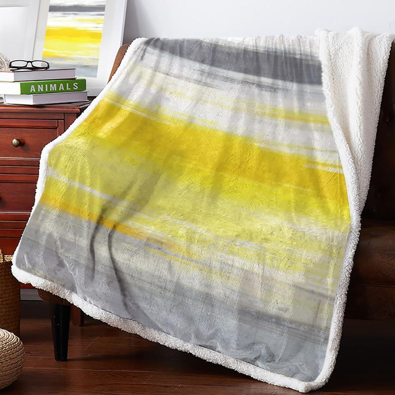 Abstract Gray Yellow Texture Fleece Blanket Warm Cashmere Blanket Office Sofa Supplies Blankets for Beds