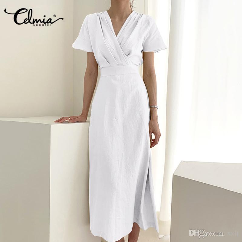 Kurzarm hohe Taille Leinenkleid Celmia Frauen Vintage V-Ausschnitt Casual Midi Sommerkleid Mode Massiv Sommer Plus Größe Vestidos 5XL