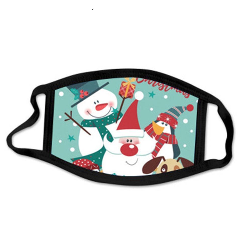 Designer Erwachsene US 2020 Kids Stock Baumwolle Frohe Weihnachten Masken Schwarz Weiß Linie Waschbare Anime Weihnachten Santa Claus Elks Schneemann Gesicht M01