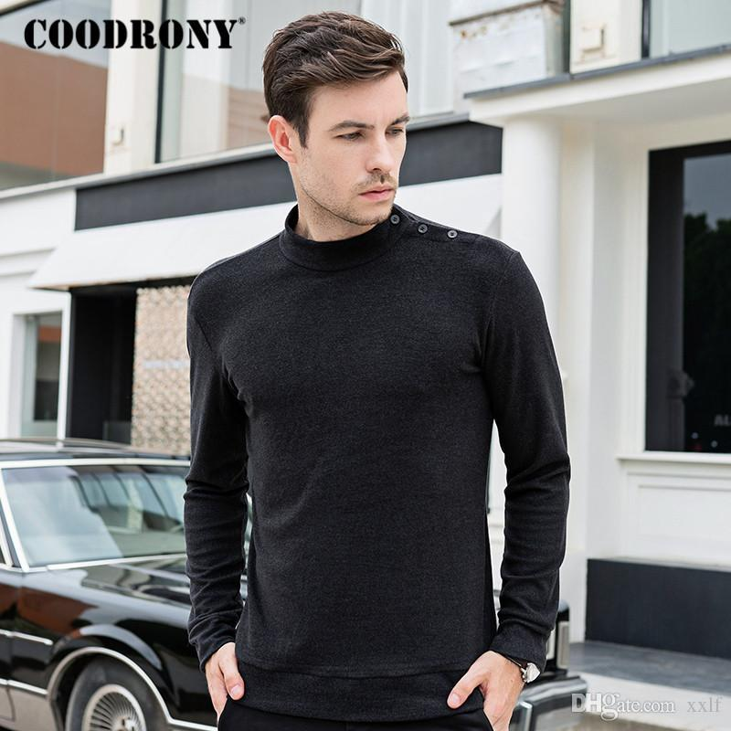 COODRONY-Marke T-shirt Männer Baumwolle T-Shirt Homme Frühling Herbst Bottoming Mode Casual Button Stehkragen T-Shirt C5003