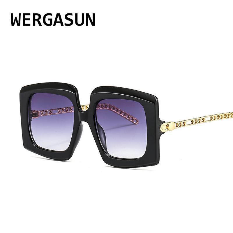 Gafas de sol Vintage SQAURE CLÁSICO Mujeres Diseñador de gafas de gran tamaño Sombras Grandes Gafas de sol Hombres Wergasun Uxxvb