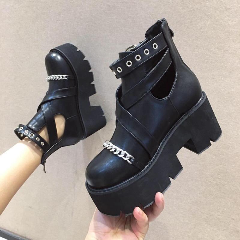 Boussac Metallketten Plattformstiefel Frauen Rücken Reißverschluss Schnalle Nieten Ankle Stiefel Für Frauen Black Punk Goth
