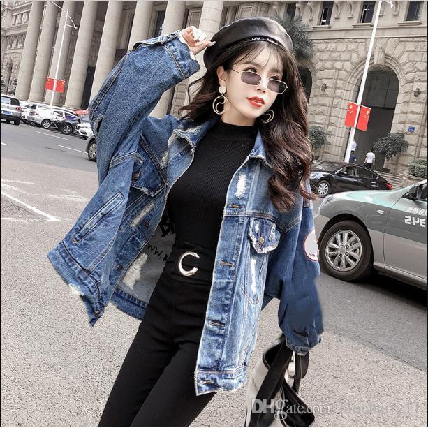 2019 ilkbahar sonbahar deri mahsul denim ceketler kadınlar rahat kot bombacı ceket uzun kollu denim ceket artı boyutu