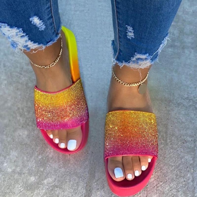 Kadın Platformu Terlik Yaz Ayakkabı Plaj Slaytlar Rhinestone Gökkuşağı Renk Bayanlar Slaytlar Kaymaz Moda Konfor Kadın Ayakkabı1