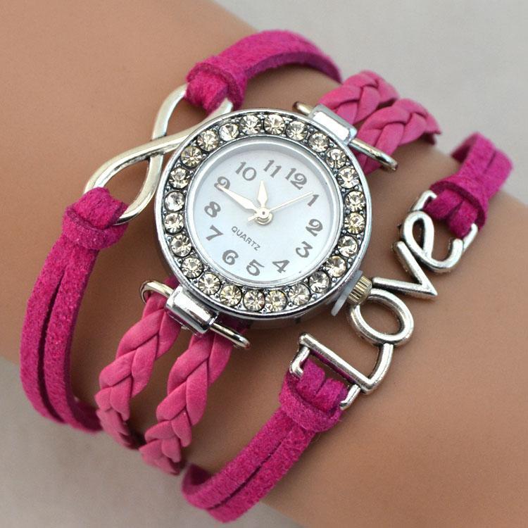 Braccialetti di fascino Infinito cuore scamosciato in pelle scamosciata in pelle di strass moda donna braccialetto orologio orologio regalo femminile lussuoso