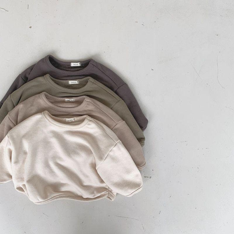 2020 estilo coreano invierno bebé jumper casual niños sólido vellón camisas niños invierno ropa Q0112