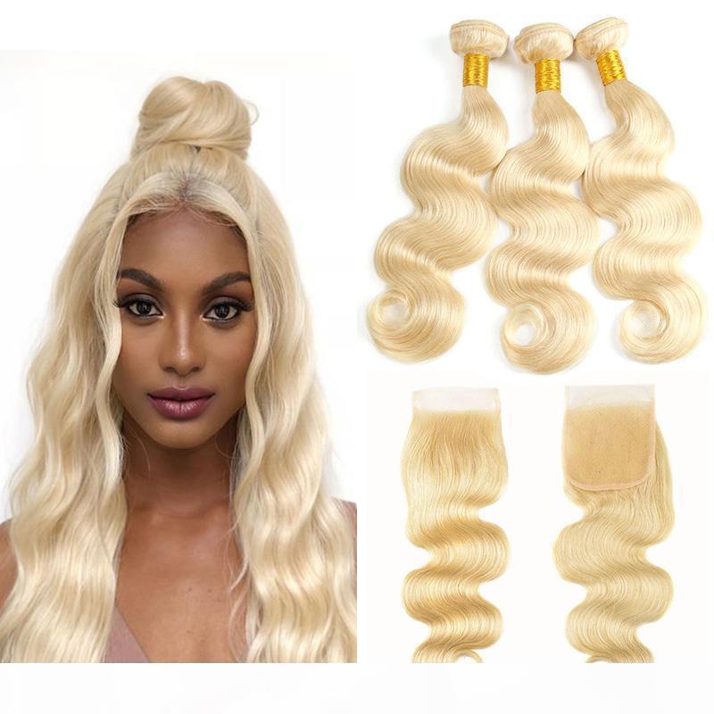 Paquetes rubios con la onda del cuerpo de cierre Brasileño Human Weave Weave Bundles Hair Virgin Hair 3 paquetes con 4 * 4 Cierre de encaje Remy Extensiones de cabello