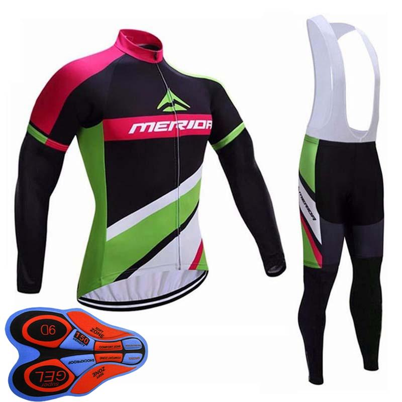 Mérida Team Spring / Autum Cycling Clothing Mens Cycling Manga larga Jersey Pantalones de babero Conjunto Conjunto de bicicletas Uniforme deportivo Ropa Ciclismo S122819