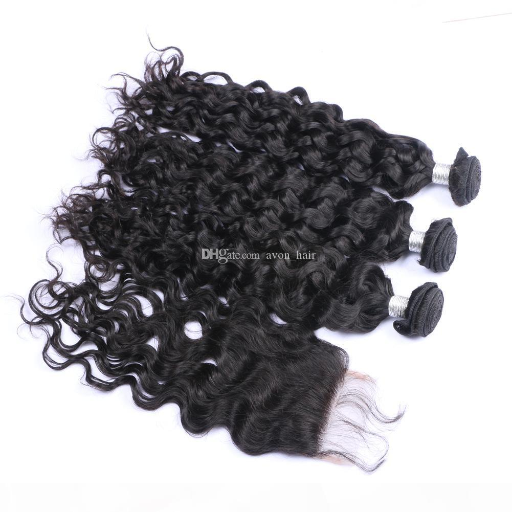 Water Wave Virgin Hair Weft With Lace Closure 4x4 Natural Color 1b Wet Wavy Human Hair 3Bundles Extensions With Top Closure