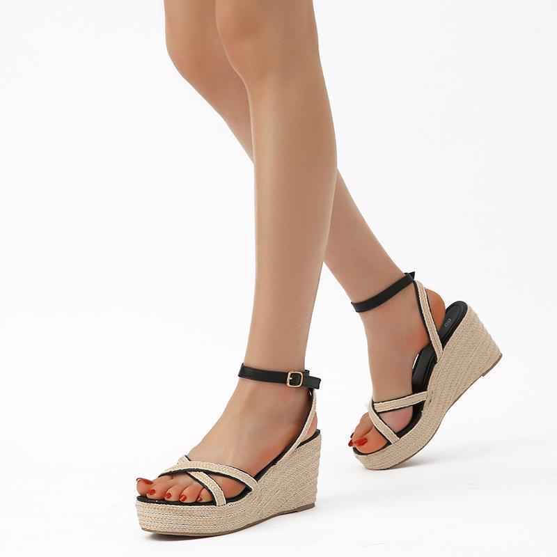 Kadınlar için Sandalet Halat Takozlar Rahat Ayakkabılar Moda Parti Elbise Dar Bant Yüksek Topuk Peep TOE1