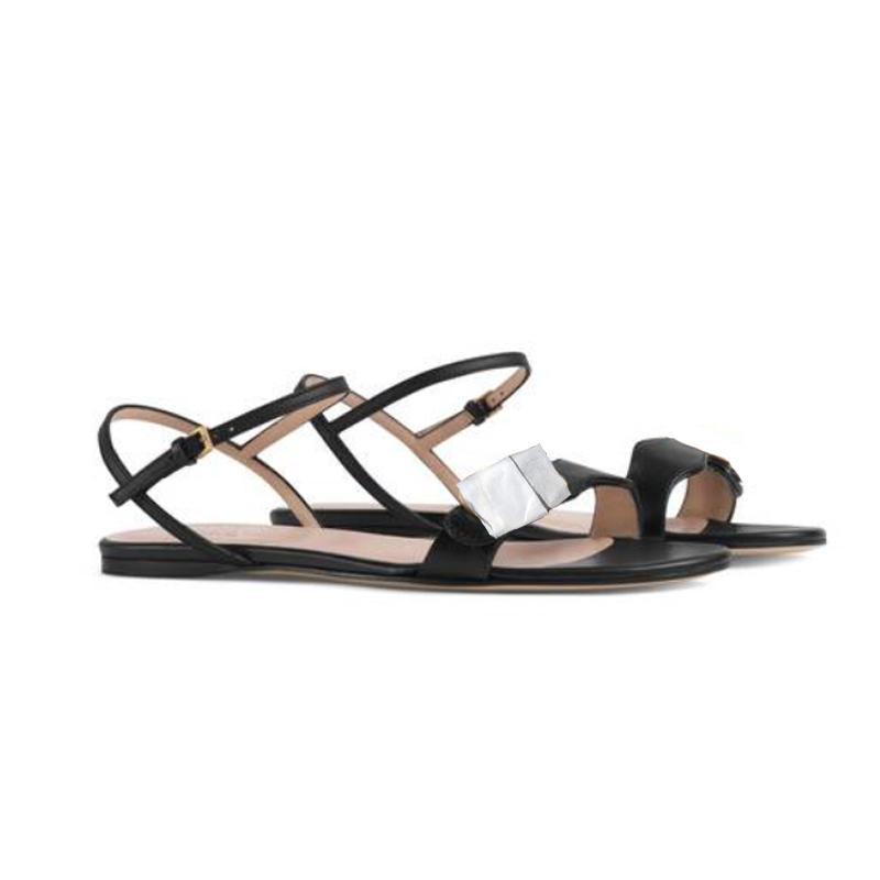 Donne Double Golden Flat Sandals Top Real Pelle Block Block Tacchi Sandali Designer Hardware Hardware Sandals Sandali Abito Scarpe da sposa 261