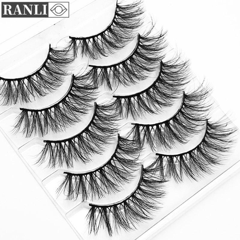 Ranli 5Pairs 3D Faux Mink Capelli False ciglia Naturale Spessore Aggiungi Eye Long Eye Lashes Wispy Makeup Beauty Eyelash Extension Tool R55
