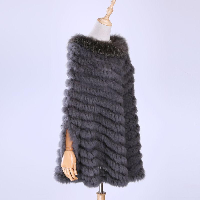 Couture, Haute Raccoon Cape Cape et Véritable Lapin Organization, Châle, Coat Triangle, 2020