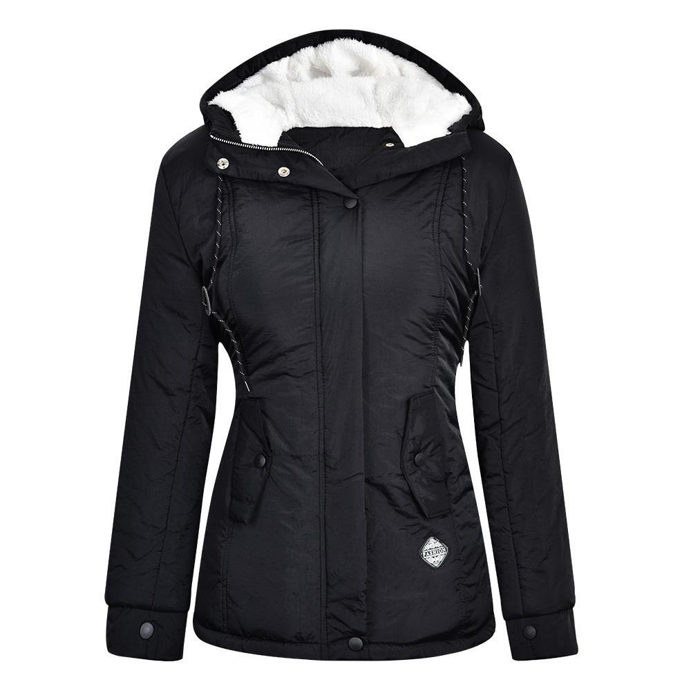 Inverno donne Caldo parka con cappuccio spessi peluche cappotti di inverno femminile medio-lungo del rivestimento del cotone di modo della signora Warm Coat Outwear D25 201119