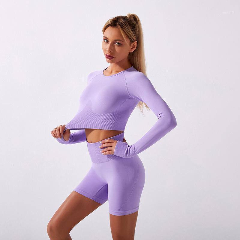 Yoga Outfits Seamless Set Fitness Clothing Long Sleeve Shirts High Waist Shorts 2Pcs Sports Suit Women Workout Outfit Sportswear1