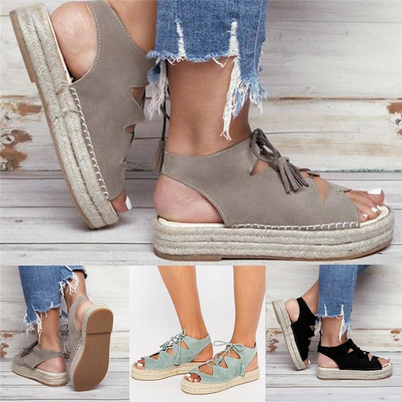 Sapatos de vestido 2021 Verão Mulheres Cunha Open Toe Moda Ankle Cross-Strap Fish Beau Sandálias Gotas tamanho 35-43