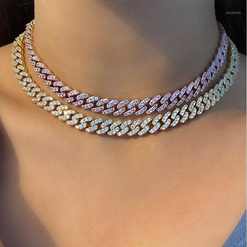 2020 Yeni 9mm Buzlu Out Bling CZ Miami Küba Link Zinciri Iki Ton Beyaz Pembe CZ Gerdanlık Kolye Gümüş Renk Kadınlar Jewelry1