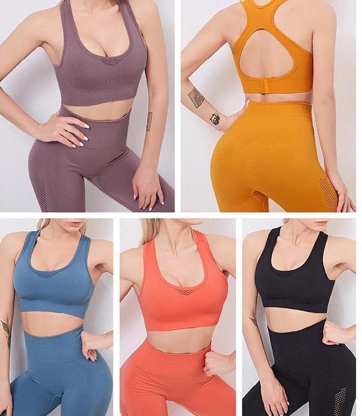 الأزياء سلس مصمم اليوغا دعوى اللياقة البدنية الملابس مثير الصدرية الأعلى الرياضية المرأة رياضية طماق السراويل الرياضية اثنين من قطعة مجموعة رياضة ارتداء