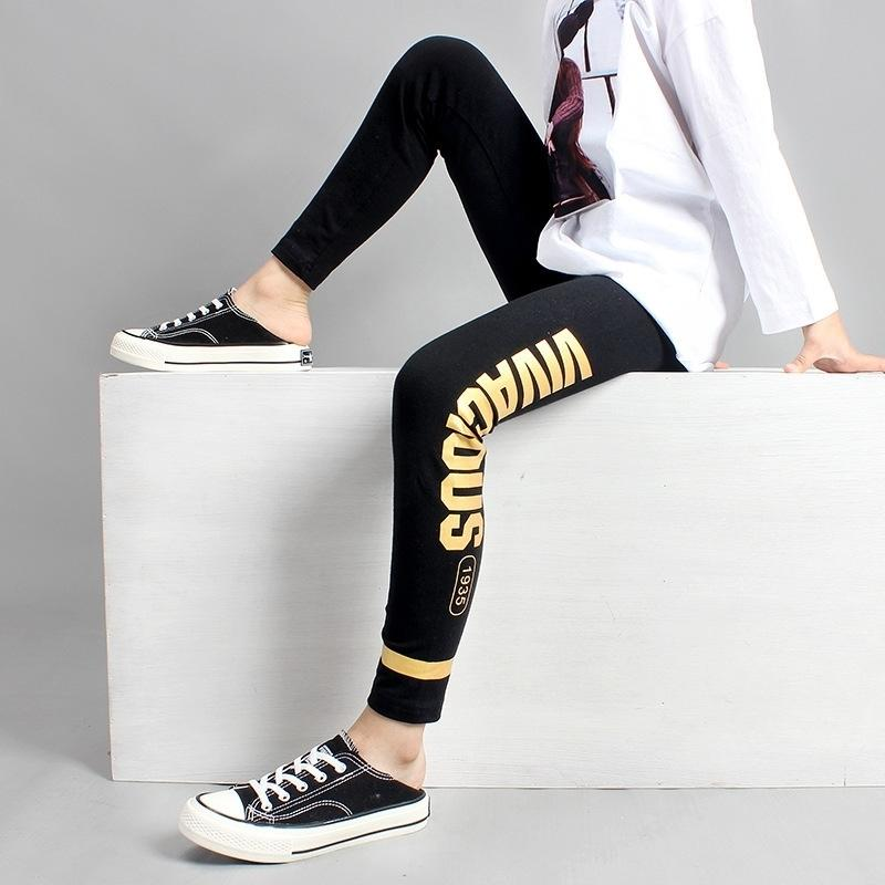 Girls Leggings 10 12 years Teenage Girls Cotton Pant Fashion Golden Print Black Kids Sport Trousers Spring Fall Students Bottoms LJ201019