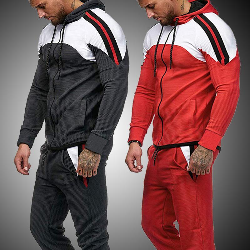 Режим одежды набор 2020 суставов весеннего времени для мужчин сот с капюшоном и спортивными спортивными штанами 2 спортивный наряд X415