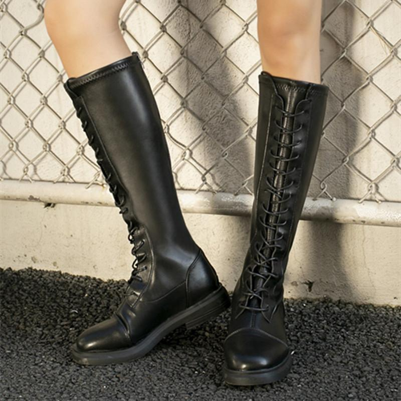 Women's Boots Snow Boots Motorcycle Winter Short plush Heighten Knee-high Lace-up Casual Shoes Women's Shoes