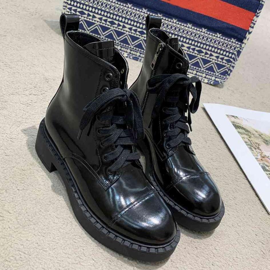 Marka ayak bileği çizmeler tasarımcı kadın boot moda bootis tıknaz topuk martin bootes kutusu