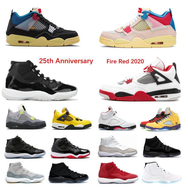 2020 Chaussures de basketball 11 25e anniversaire 4 Union de chat noir La Guva Low Concord Blue Concorde Blanc Breg Sound Sneakers métalliques blancs 11s