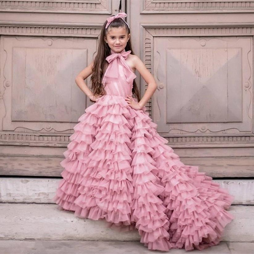 Setwell High Neck A-line Flower Girls' Dresses Sleeveless Pleated Tiered Floor Lebgth Long Train Princess Pageant Gowns