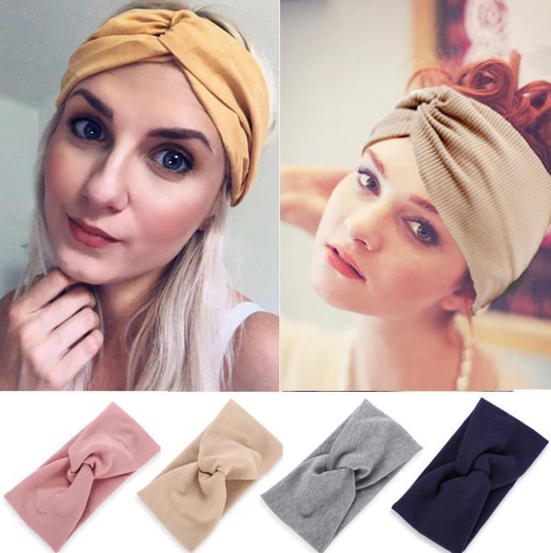 Hilo de cabeza europea y americana Hilo Cross Cache Head Band Yoga Headband Sports Elastic Headband para damas