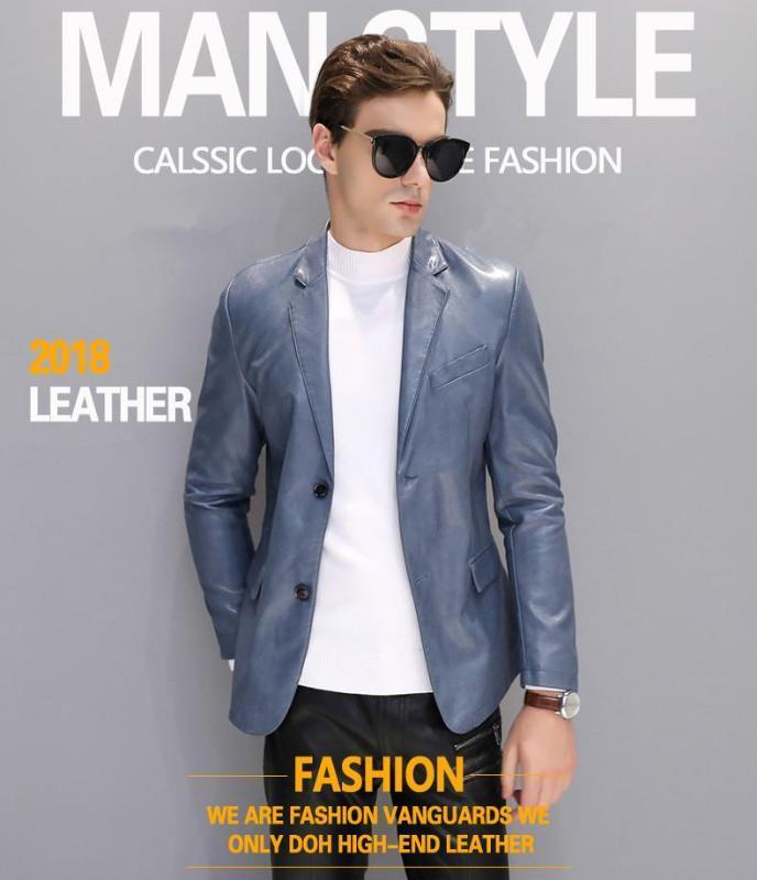 2020 Осенняя мужская кожаная тонкая секция Маленький костюм Trend Trend Slim England повседневная красивая весенняя и осень Blazer