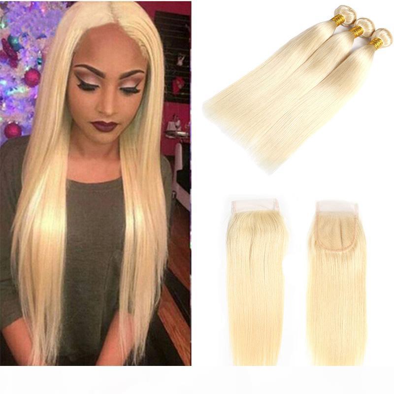 Brasileño 613 # Honey Blonde Weave Weave Bundles con cierre Miel Rubia 3 piezas Human Hair Extensions con cierre No Remy Hair