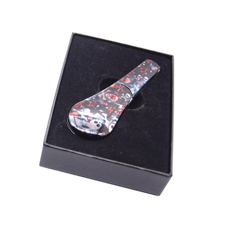 Impression couleur Alliage de zinc Tuyau de tabac de tabac de crâne détachable Cuillère de crâne 31x96mm Tabac avec boîte-cadeau Packaging 8 styles pour choisir