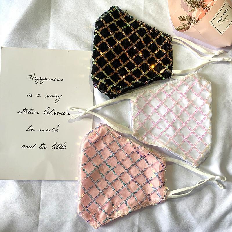 Luxus-Sparkly-Jewel-Spitze-Mode-Party für Dekoration Staubsonnen-UV-Eiswaschbare Gesichtsmaske