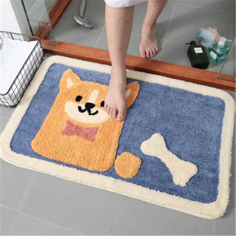 Dibujos animados Akita perro mullido alfombra alfombra alfombra alfombra absorbente estera rectángulo peluche antideslizante suave alfombra para sala de estar dormitorio