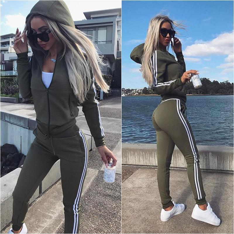 Plus Size Due Set delizioso Set Casual Sport Pack 2 pezzi Set Abbigliamento sportivo 2020 RITS ALIMENTAZIONE DONNE DONNE