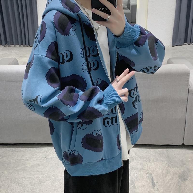Осенью и Корейских моды свободных модули зимы кардигана мультфильм моды бренд мальчик супер огонь Плюшевый Hoodie