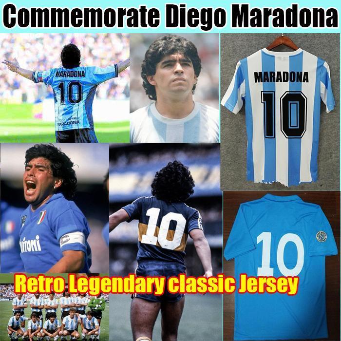 Diego Maradona Jersey Argentinien Retro Napoli Napoles Boca Juniors Fussball 1978 1981 1986 1987 Gedenkfisch-Hemd Klassische Uniform