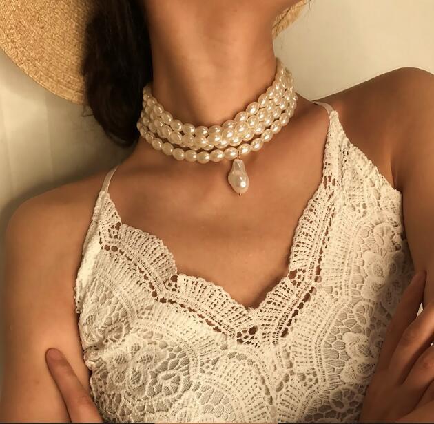 Colar de pérolas de traje branco 4 traje multicamada China Handmade charme gargantilha colares de jóias curtas para mulher