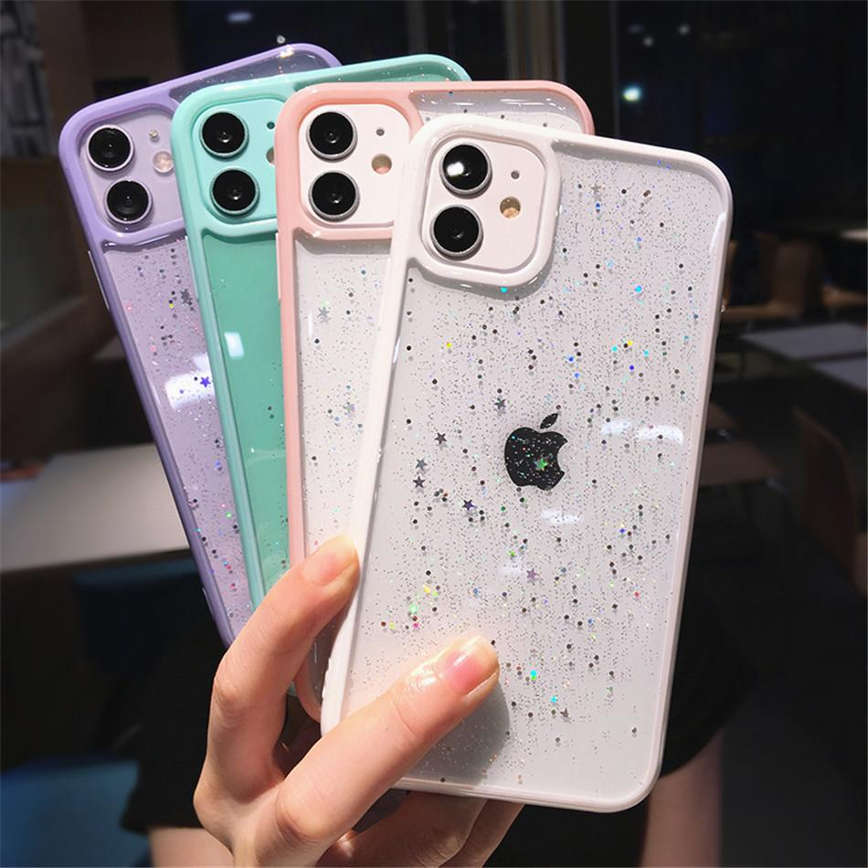 Start Blitter Case для iPhone 12 11 Pro Max 7 8 XR X XS Clear Bling Case Back Cover Girly Style
