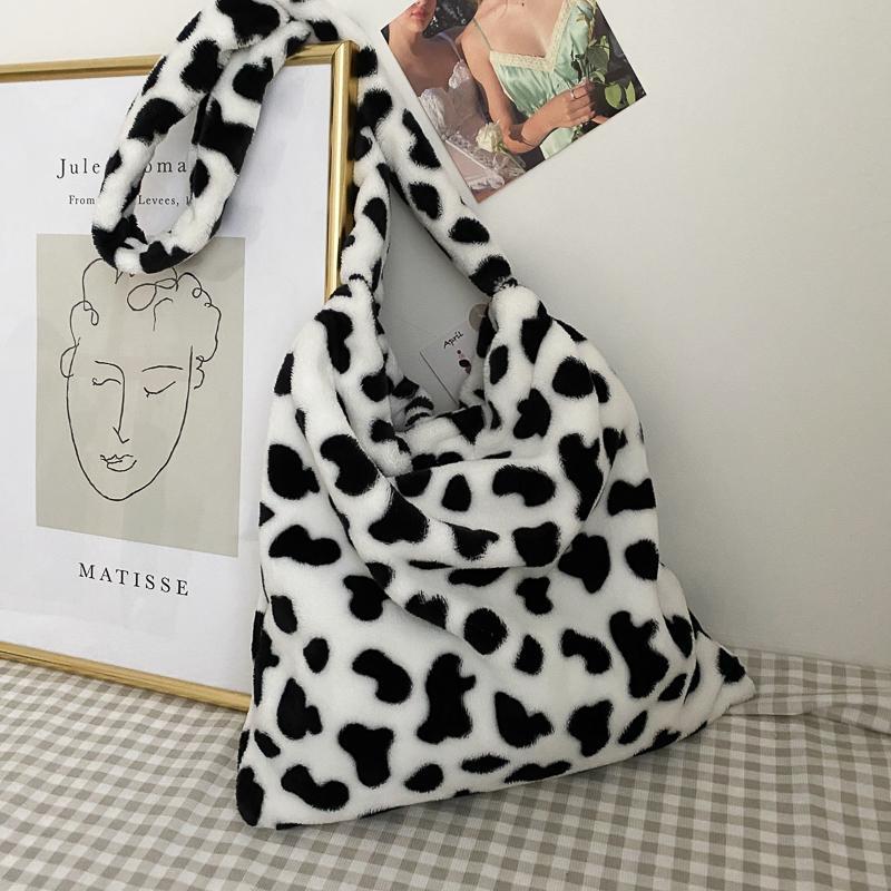 Large Capacity Cow Pattern Plush Women's Crossbody Animal Prints Shoulder Messenger Bags for Women 2021 Fluffy Shopper Bag Q1204