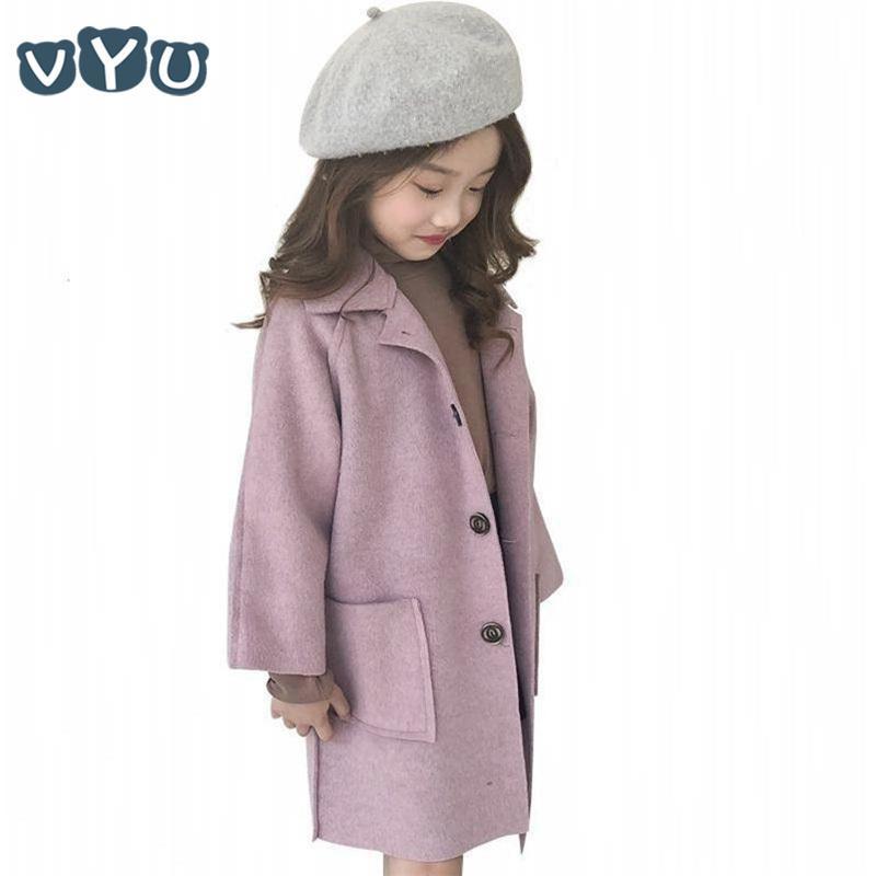 Kind-Mädchen-Jacke verdicken Woll lange Hülsen-Mantel-koreanische Art-Normallack-Knopf-Mantel-Kind-Mädchen-Kleidung 6 ~ 10yrs Y1113