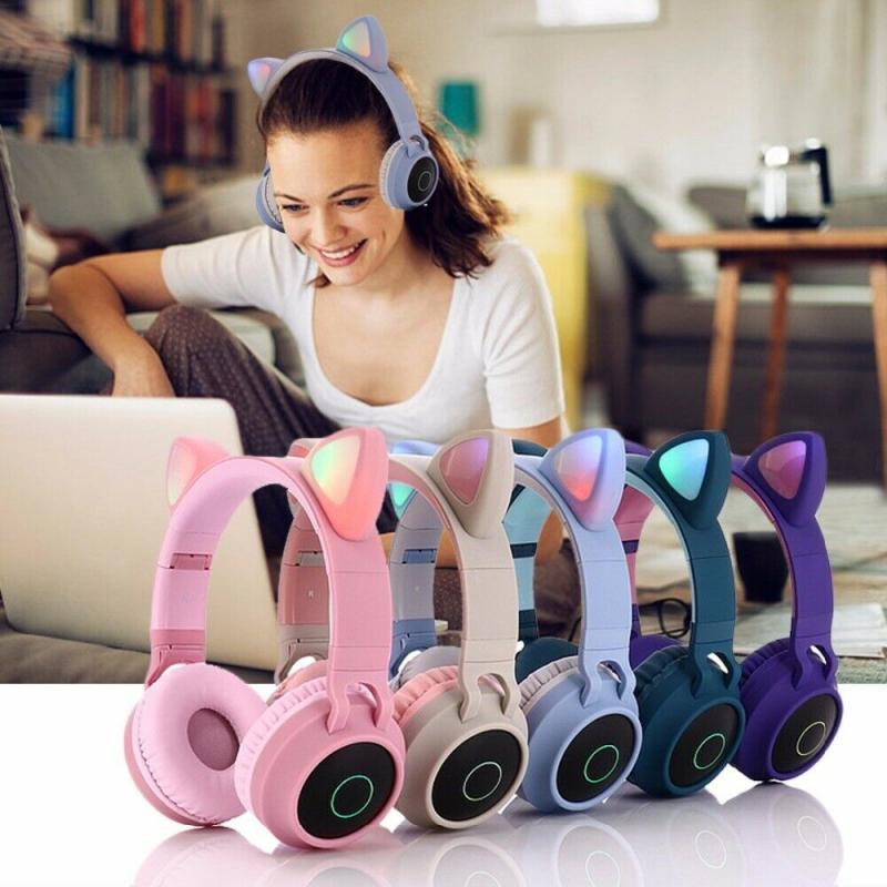 Cuffie Bluetooth Bluetooth del gatto Bluetooth 5.0 Bluetooth wireless Bluetooth con microfono Stereo Gaming Auricolare Nuova cuffia per il regalo del bambino Y1128