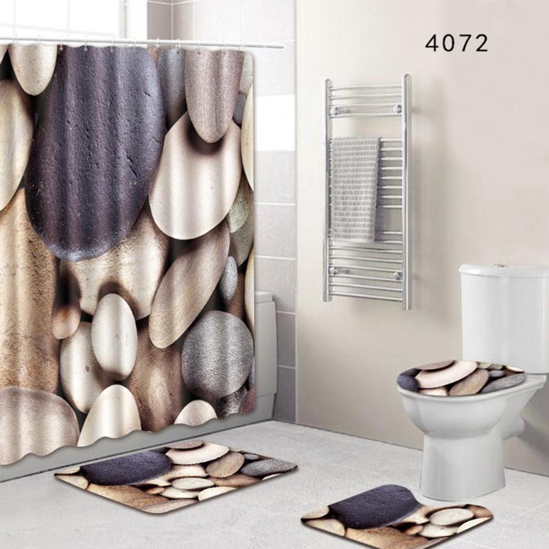 New Hot 8 Types Bathroom Non-Slip Pedestal Rug Set Pedestal Rug + Lid Toilet Cover + Bath Mat+Shower Curtain